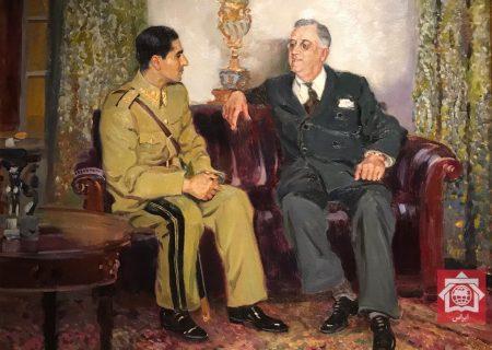 نقاشی روسی از دیدار پهلوی دوم و روزولت در تهران
